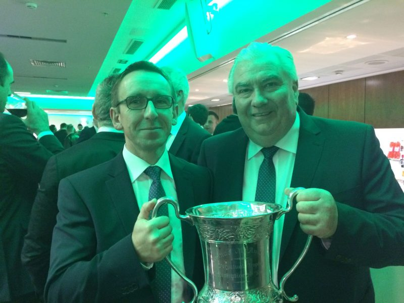 With International Rules Series manager Joe Kernan and the Cormac McAnallen trophy in 2017