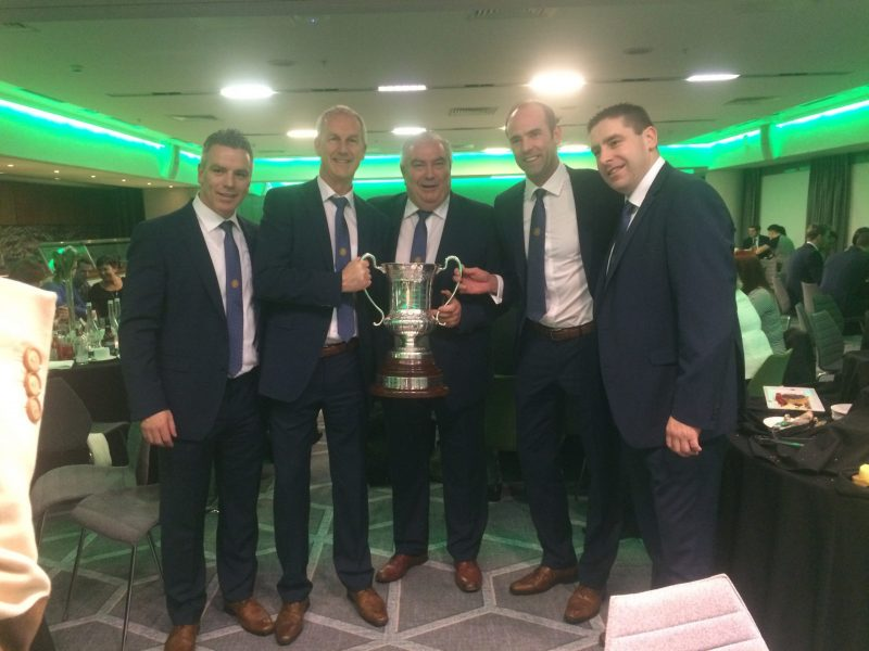 The management team with International Rules Series trophy in 2017
